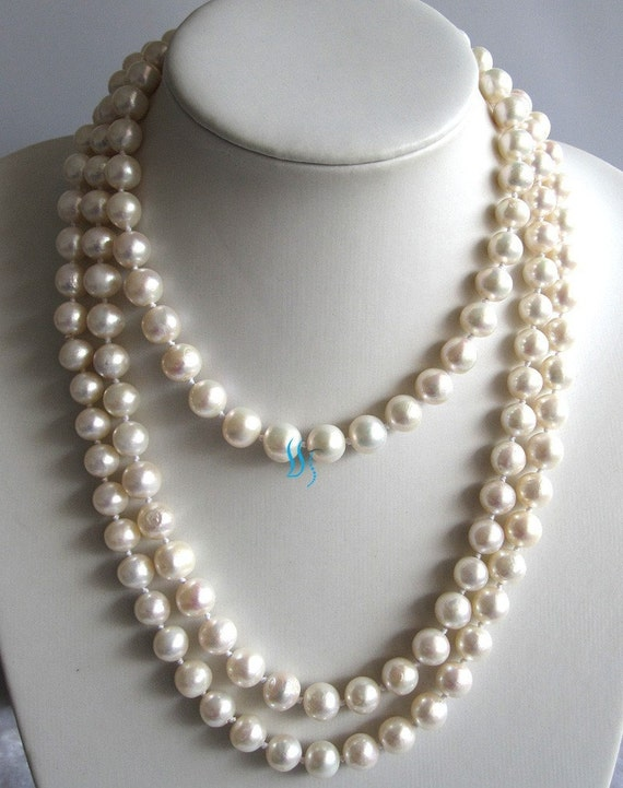 Pearl Strand Necklace - 60 inch 10-11mm White Off Round Freshwater Pearl Strand Necklace - Free shipping