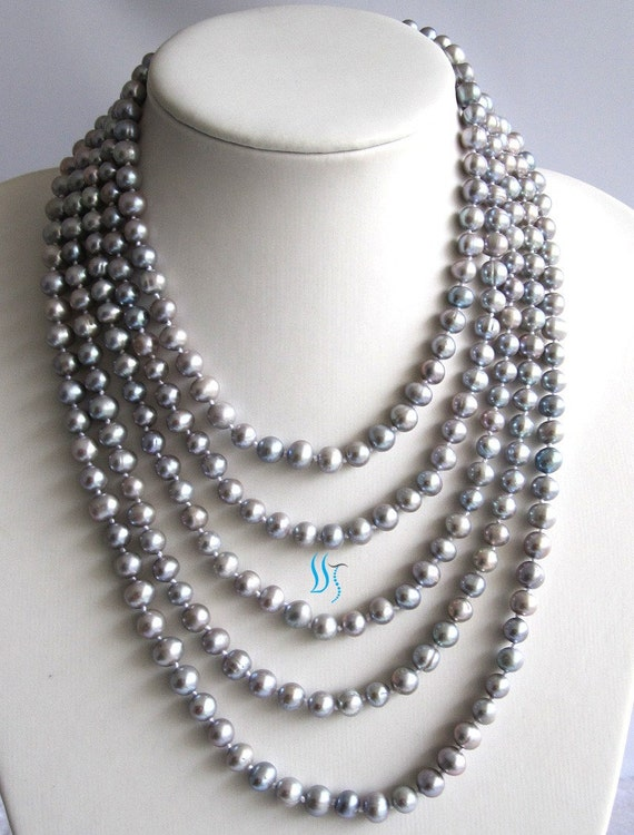 Pearl Strand Necklace - 100 inch 7-8mm Gray Freshwater Pearl Strand Necklace - Free shipping