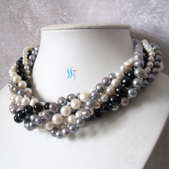 Multi Row Pearl Necklace: Pearl Necklace 18 Inches 7 Row 4-10mm Multi Color By