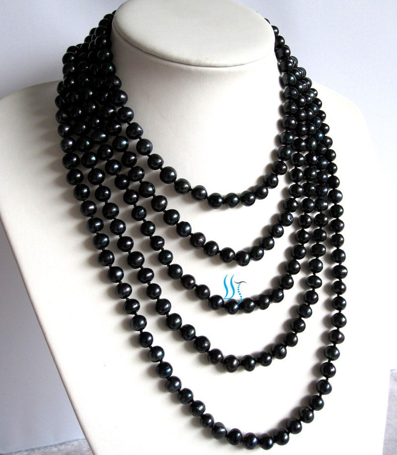 black pearl necklace 100 inches 7 8mm black by pearlsstory. Black Bedroom Furniture Sets. Home Design Ideas