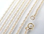 16 Inch Gold Filled 1.3mm Rope Chain With Clasp - Any Length Available