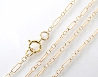 16 Inch Gold Filled Long and Short Chain With 5mm Spring Clasp - Any Length Available