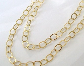 16 Inch Gold Filled Layering Oval Link Chain With Gold Filled Lobster Clasp - Any Length Available