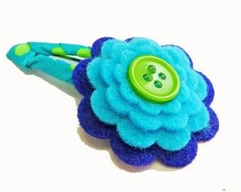 Blue felt flower hair clip / felt hair clip / girl barrette / baby hair clip / girl hair clip...