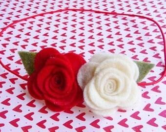 Cherry Blossom Felt Flower skinny headband / newborn headband / girl headband / photo prop
