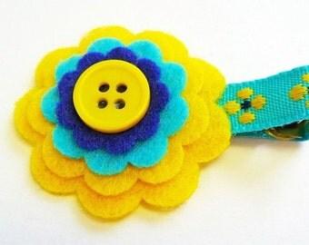 Felt flower hair clip - Blue and Yellow / Baby barrette / Baby hair clip
