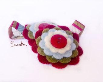Sweet felt flower hair clip set of 2 / baby hair clip / girl hair clip / barrette - Berry Farm.
