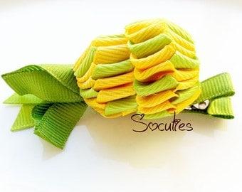 Pineapple EXCLUSIVE ribbon sculpture hair clip, baby hair clip, girl hair clip, barrette