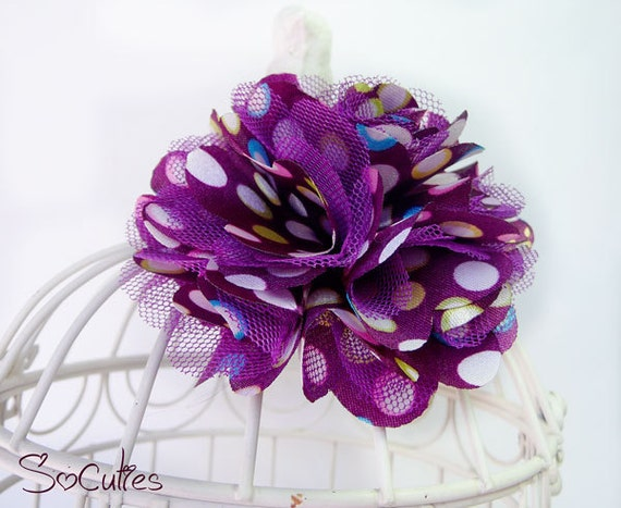 Purple Dots Satin and Tulle Flower Hair Clip. U pick the size.