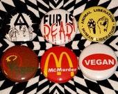 Vegan / Vegetarian - Set of 6 - 1 inch pinback buttons