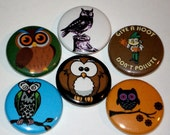 Retro Owls - Set of 6 - 1 inch pinback buttons