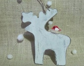 Red & White Wood Christmas Ornament