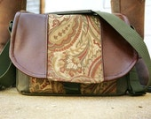 Pre-Order - Olive Green Paisley and Leather DSLR Camera Bag