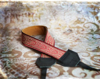 Red Damask Leather and Suede Camera Strap
