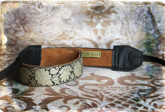 Black Leaves Leather and Suede Camera Strap
