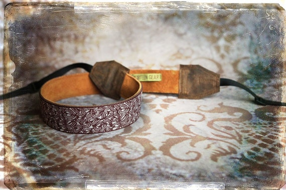 Maroon Leaves and  Leather and Suede Camera Strap