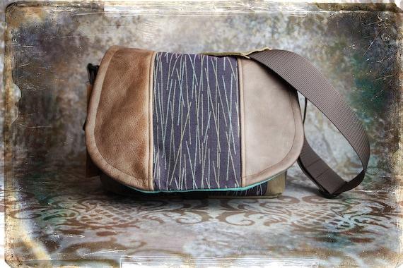 Pre-Order -  Purple Teal Lines and Leather DSLR Camera Bag