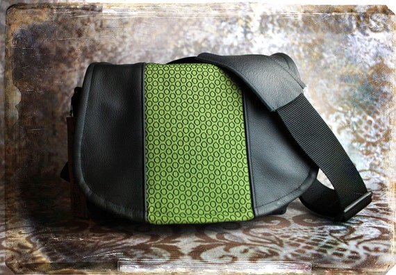 Pre-Order -  Lime Green Circles and Leather DSLR Camera Bag - Medium