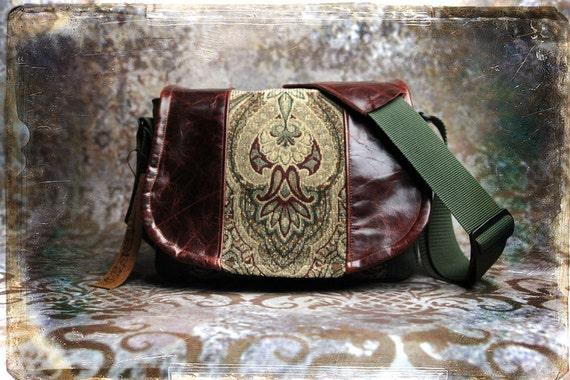 Pre-Order - Tapestry and Leather  DSLR Camera Bag - Medium