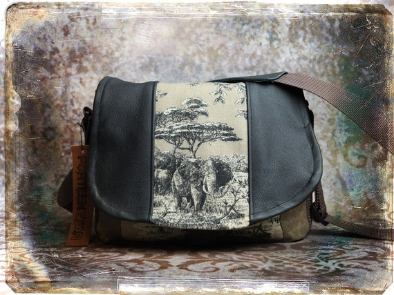 Leather Camera Bag - Elephant Tapestry Medium DSLR - IN STOCK