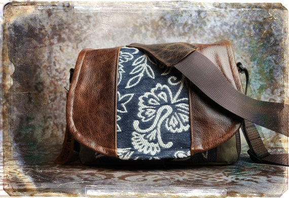 Leather Camera Bag - Denim Floral Medium DSLR - Pre-Order