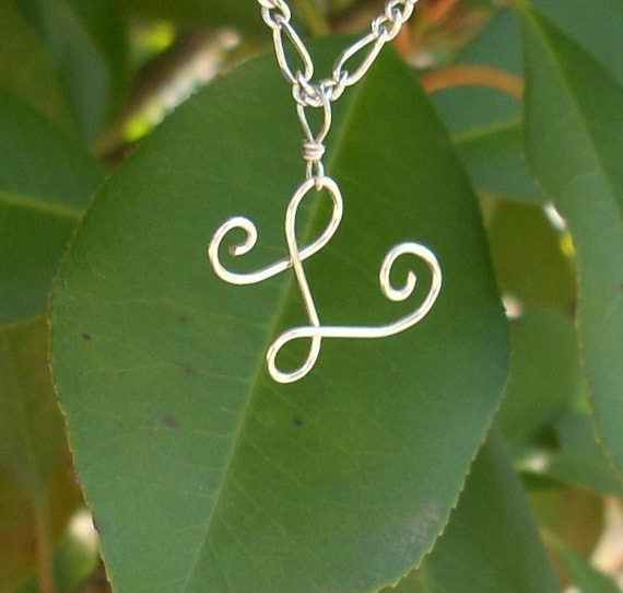 Silver wire Name Initial Necklace