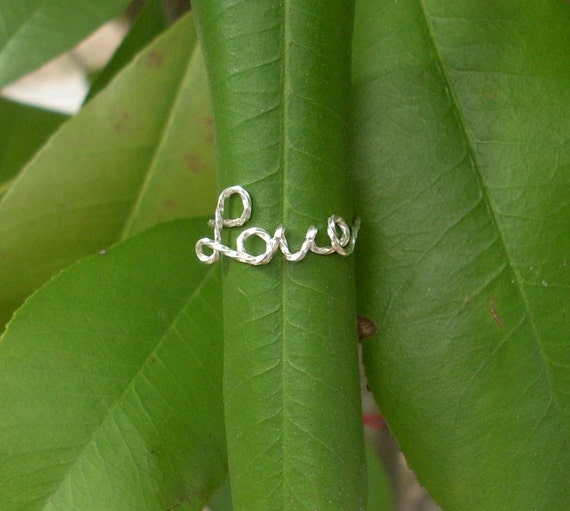 Silver wire LOVE Ring.