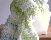 Lime green and pale blue striped hand knit scarf