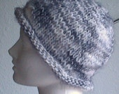 Soft white with black hand knit hat