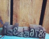 Vintage Metal Letterpress Printers Block Set - Numbers 1-9