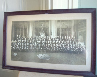 SALE Vintage 1922 Framed Panoramic Group Photo from Masonic Temple