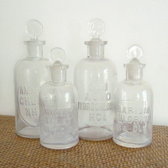 On The Road - Set of 4 Vintage Glass Apothecary Bottles