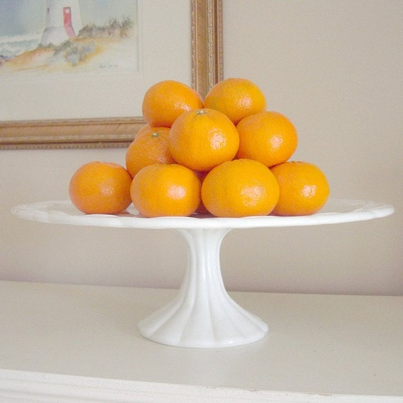 Large Vintage Milk Glass Cake Stand