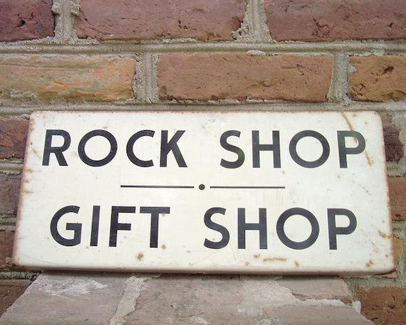 Vintage Metal Rock Shop Gift Shop Sign By Curiosityvintage
