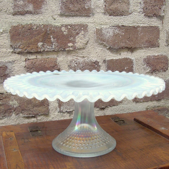 SALE Vintage Fenton Opalescent Glass Hobnail Cake Stand