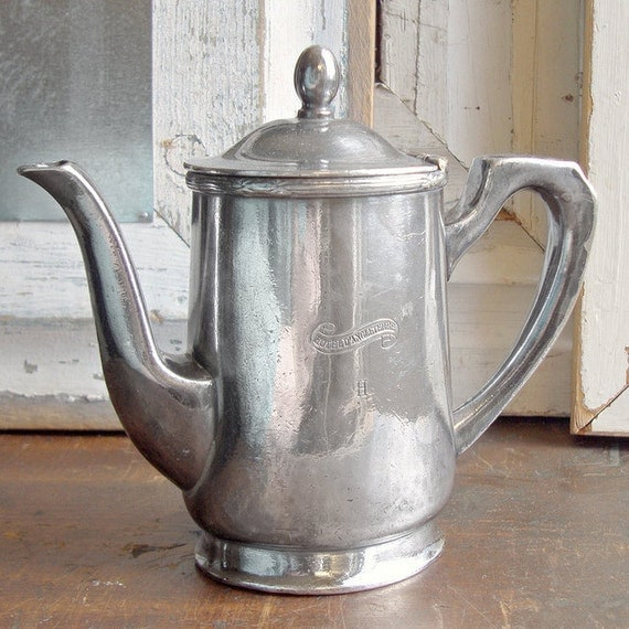 SALE Vintage Silver Plate European Hotel Teapot From Hotel D'Angleterre