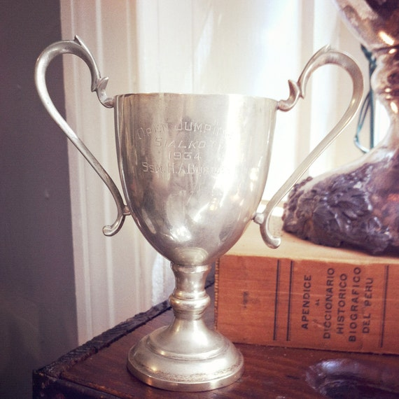 Vintage 1934 Silver Plate British Colonial Equestrian Trophy Cup