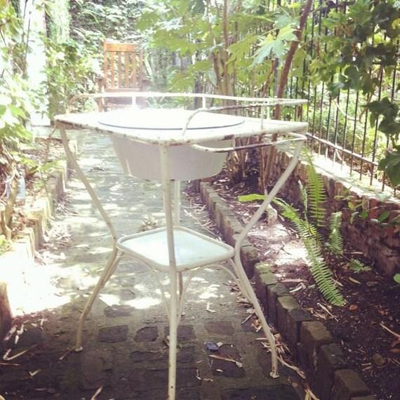 SALE Vintage French Enamel Wash Basin on Stand