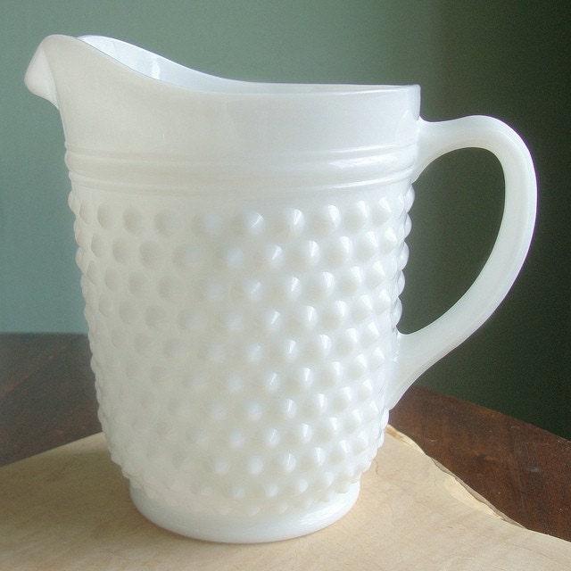 Sale Vintage White Milk Glass Hobnail Pitcher