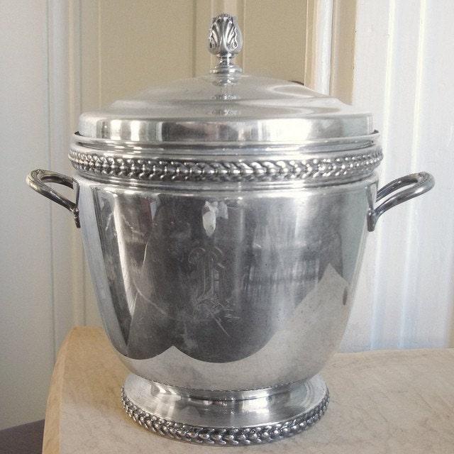 vintage silver insulated ice bucket r monogram