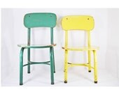 2 Vintage Children's Chairs - Irwin Seating Co - Green and Yellow