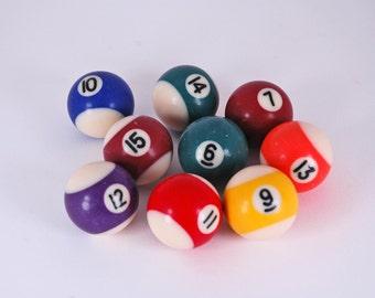 Set of 9 Small Vintage Billiard Balls
