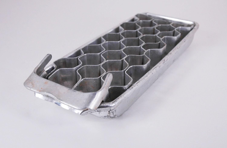 vintage aluminum ice cube tray hexagonal cubes. Black Bedroom Furniture Sets. Home Design Ideas
