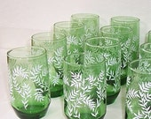 Vintage Emerald Green Juice Glasses with White Embossed Leaves