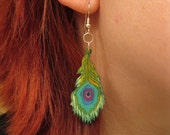 Abstacted Peacock Feather Earrings - Light Color Version