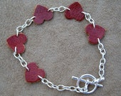 Leather Heart and Chain Bracelet