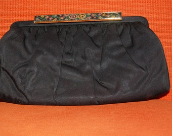 50s 60s Clutch, Purse, French, Black, Silk, Evening Bag, Embroidered Tapestry Clasp