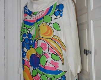 50s 60s Tunic, Blouse, Novelty Print, Fruits, Top, Shirt, Bright Colors, Adelaar, Size S/M