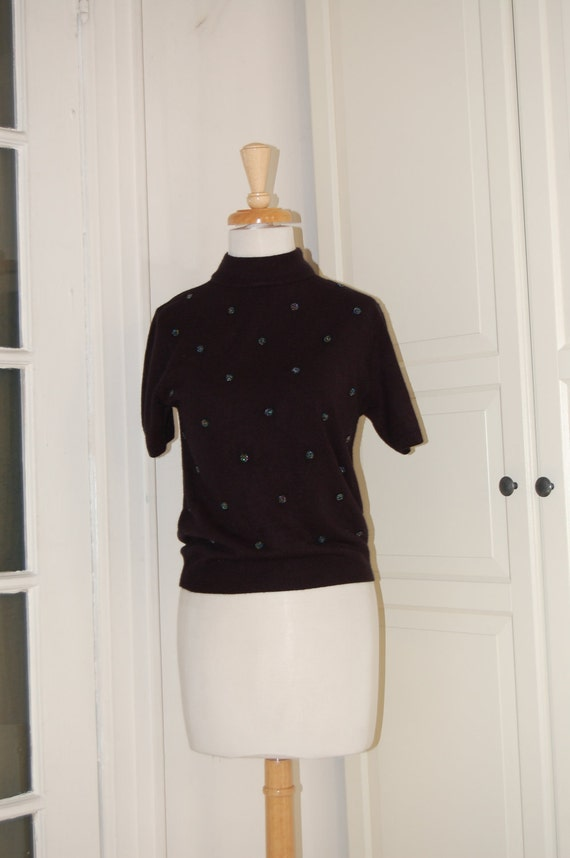 On SALE - 50s Pin Up Sweater, Beaded, Black Orlon Short Sleeved Pullover Sweater - Mad Men