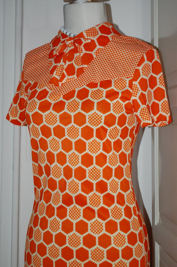VINTAGE 60s Mini Dress Mod Tangerine Orange with Bow Detail - Small